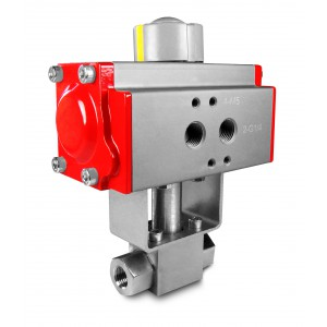 Vysokotlaký kulový ventil 1/4 palce SS304 HB22 s pneumatickým pohonem AT40