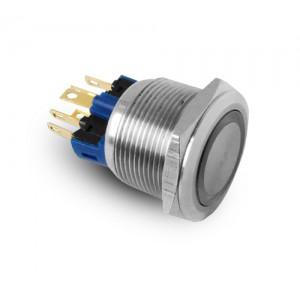Tlačítko 22mm nerezová ocel IP65 LED 230V nebo 24V modrá momentka