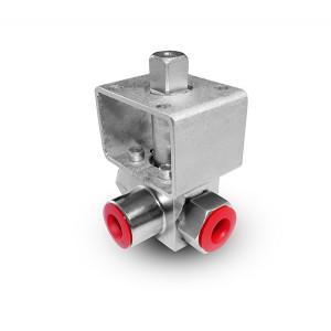 Vysokotlaký 3-cestný kulový ventil 3/8 palce SS304 Montážní deska HB23 ISO5211