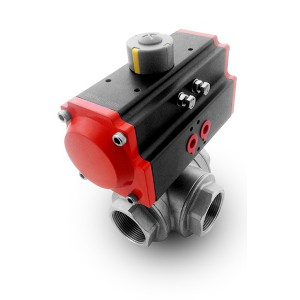 Nerezový stell 3-cestný kulový ventil DN40 1 1/2 palce s pneumatickým pohonem AT75
