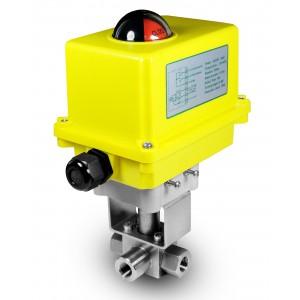 Vysokotlaký 3-cestný kulový ventil 3/8 palce SS304 HB23 s elektrickým pohonem A250