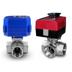 3-cestný kulový ventil 3/4 palce s elektrickým pohonem A80 nebo A82