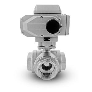 Nerezový 3cestný kulový ventil 2 palce DN50 s elektrickým pohonem A1600