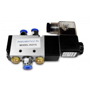Elektromagnetický ventil 5/2 4V210 1/4 palce pro pneumatické válce + konektory 8 mm
