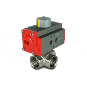 3-cestný mosazný kulový ventil 1 1/4 palce DN32 s pneumatickým pohonem AT40