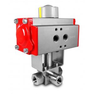 Vysokotlaký 3-cestný kulový ventil 3/8 palce SS304 HB23 s pneumatickým pohonem AT52