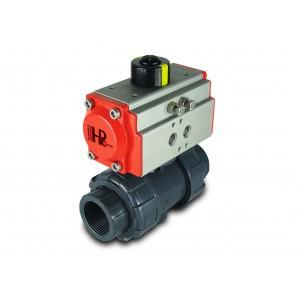 """Kulový ventil UPVC, 1"""", DN25 s pneumatickým pohonem AT32"""