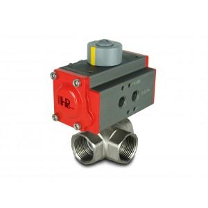 3-cestný mosazný kulový ventil 3/4 palce DN20 s pneumatickým pohonem AT32